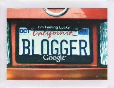 framed blogger license plate